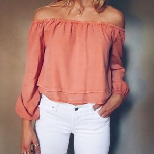 Off the shoulder Burnt Orange Crop Top